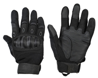 Warrior Paintball Full Finger Gloves - Carbon Knuckle - Black