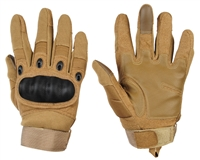 Warrior Paintball Full Finger Gloves - Carbon Knuckle - Tan