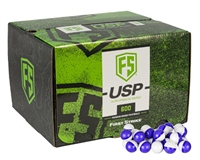 First Strike Paintball 600 Round Paintballs - Ultra-Sphere Projectiles (USP) - Purple/Clear Shell - White Powder Fill
