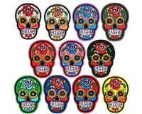Warrior Embroidered Iron On Patch - Sugar Skull (11-Pack)